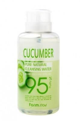 Очищающая вода с экстрактом огурца FARMSTAY Pure cleansing water cucumber 500 мл: фото