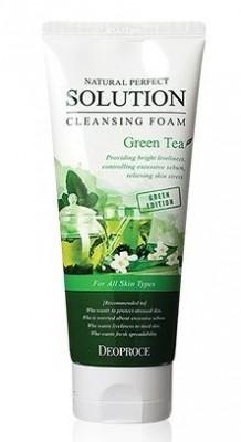 Пенка для умывания с зеленым чаем DEOPROCE Natural perfect solution cleansing foam green edition greentea 170г: фото
