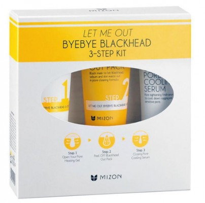 Трехступенчатый уход против черных точек MIZON Let me out byebye black head 3-setp kit 35г+35мл+30мл: фото