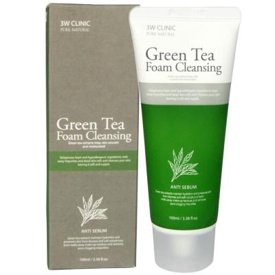 Пенка-контроль жирности кожи с зеленым чаем 3W CLINIC Green tea foam cleansing 100мл: фото