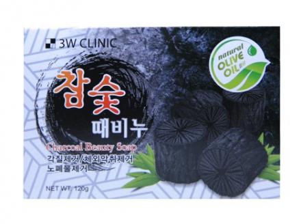 Мыло кусковое УГОЛЬ 3W CLINIC Charcoal Beauty Soap 120 г: фото