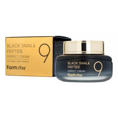 Крем омолаживающий с комплексом из 9 пептидов BLACK SNAIL & PEPTIDE9 PERFECT CREAM 55мл, FarmStay: фото